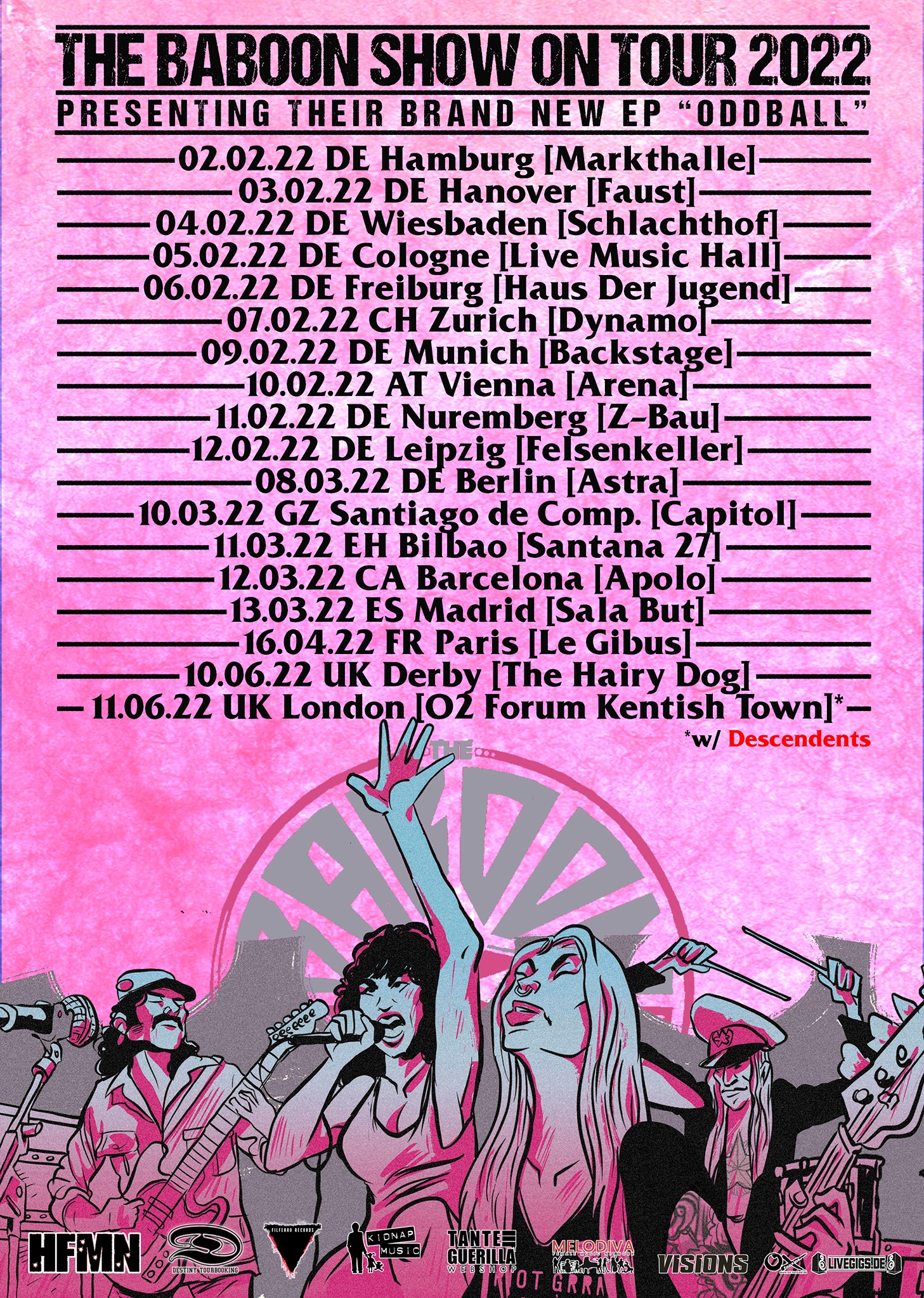 The Baboon Show Europe Tour 2022